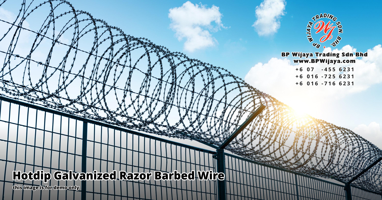 BP Wijaya Security Fence Manufacturer Malaysia Hotdip Galvanized Razor Barbed Wire Hotdip Galvanized Razor Barbed Wire Mesh Stainless Steel Razor Barbed Wire 铁丝网 Kawat Berduri A00