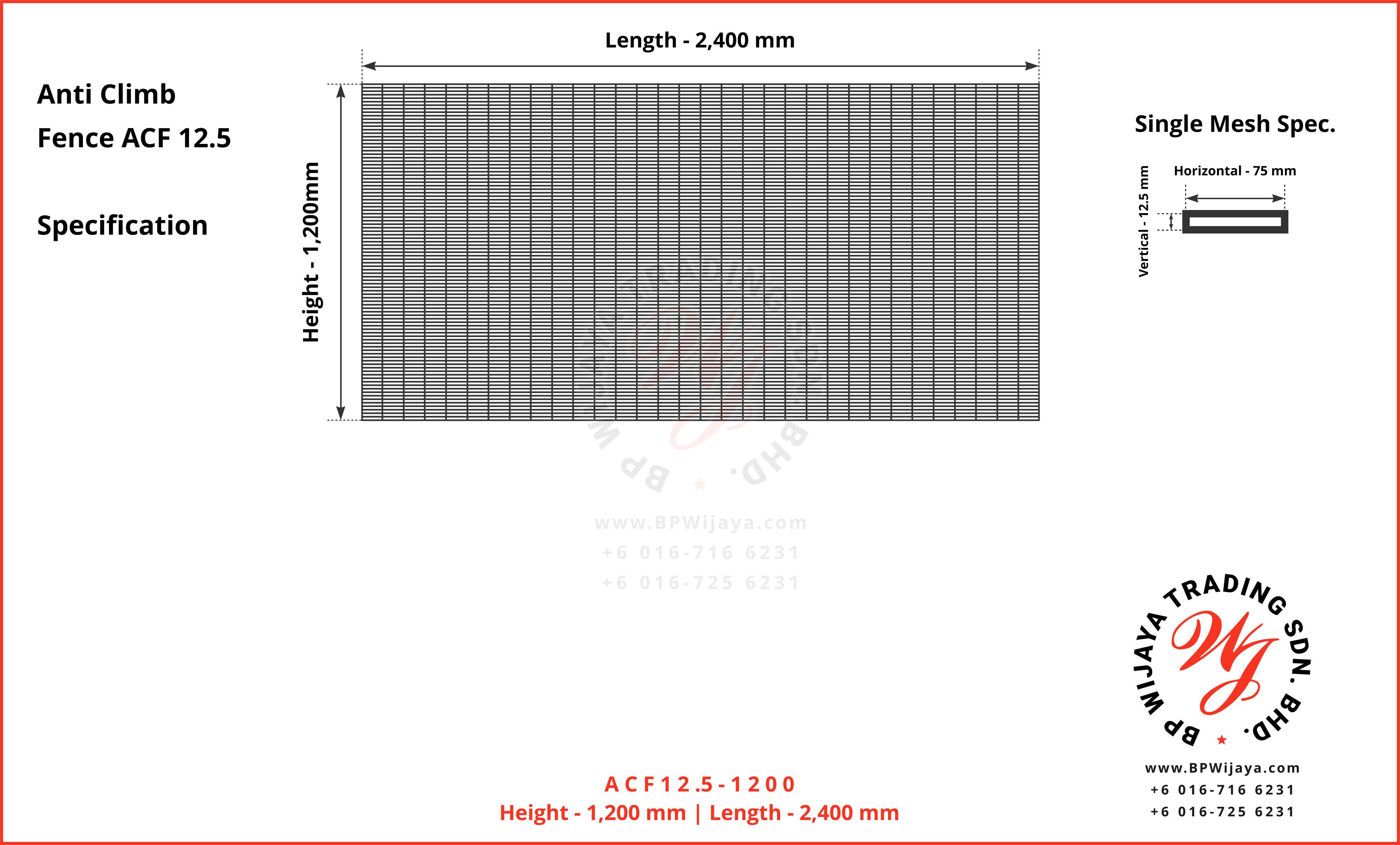 Anti-Climb Fence ACF 12.5 – BP WIJAYA TRADING SDN BHD