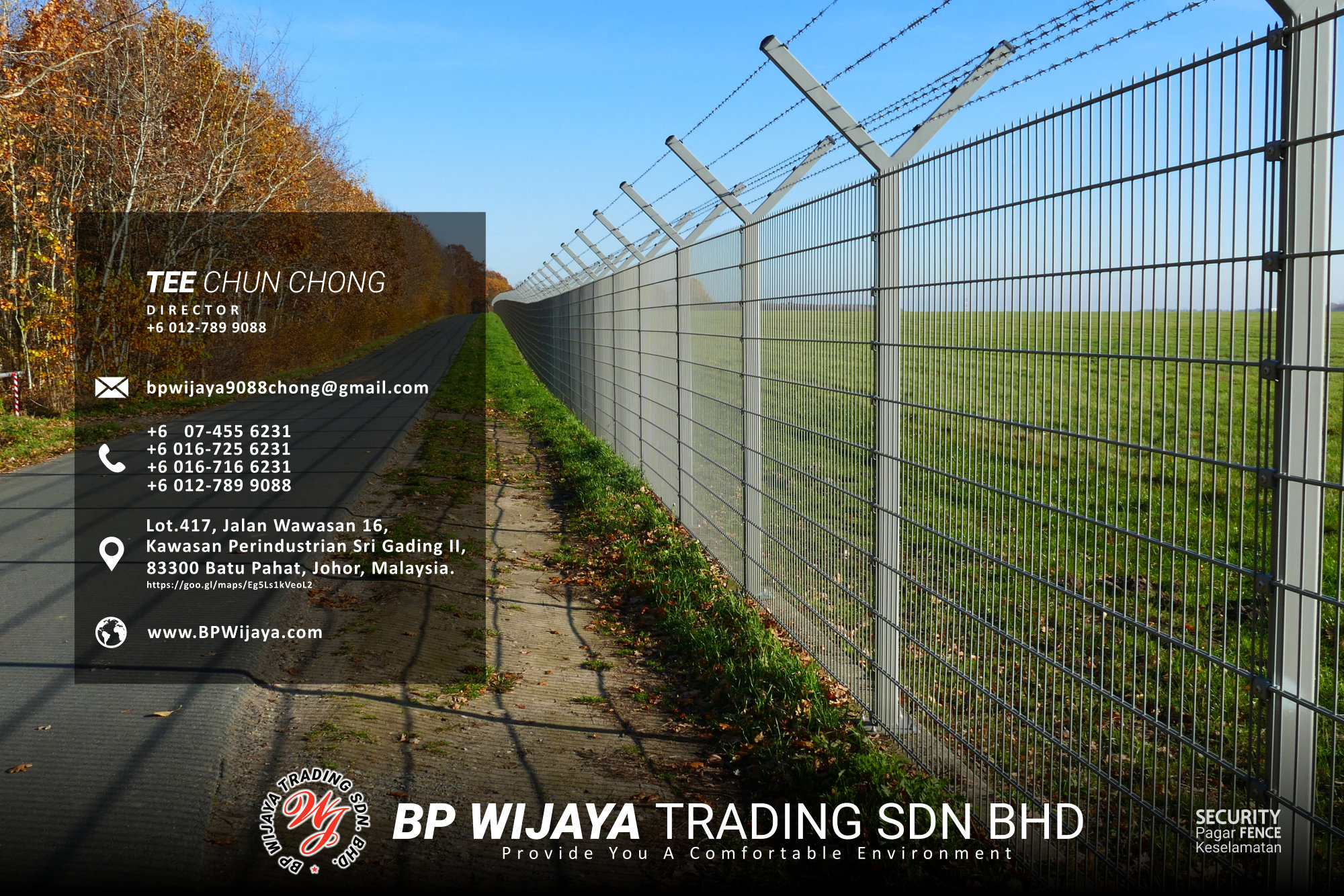 Kuala Lumpur Security Fence Supply we are manufacturer of security fence BP Wijaya Trading Sdn Bhd Safety Fence Building Materials for Housing Construction factory fence house beauty fence A03-002