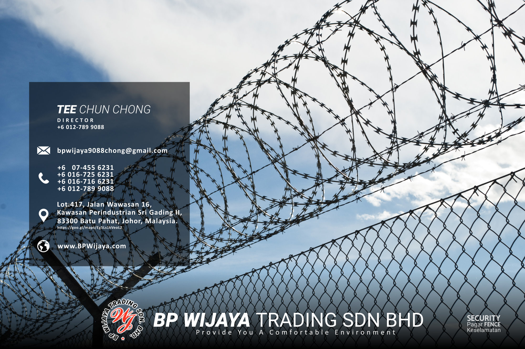 Kuala Lumpur Security Fence Supply we are manufacturer of security fence BP Wijaya Trading Sdn Bhd Safety Fence Building Materials for Housing Construction factory fence house beauty fence A03-003
