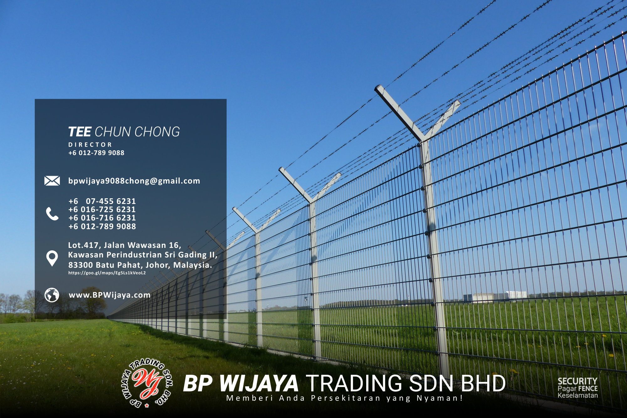 Pembekal Kuala Lumpur Pagar Keselamatan kami merupakan pengilang pagar keselamatan BP Wijaya Trading Sdn Bhd Pagar Taman Pagar Bangunan Pagar Kilang Pagar Rumah Pemborong Pagar Keselamatan A03-010